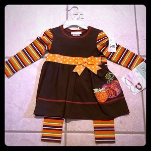 Bonnie Jean Pumpkin Dress & Striped Leggings 24M